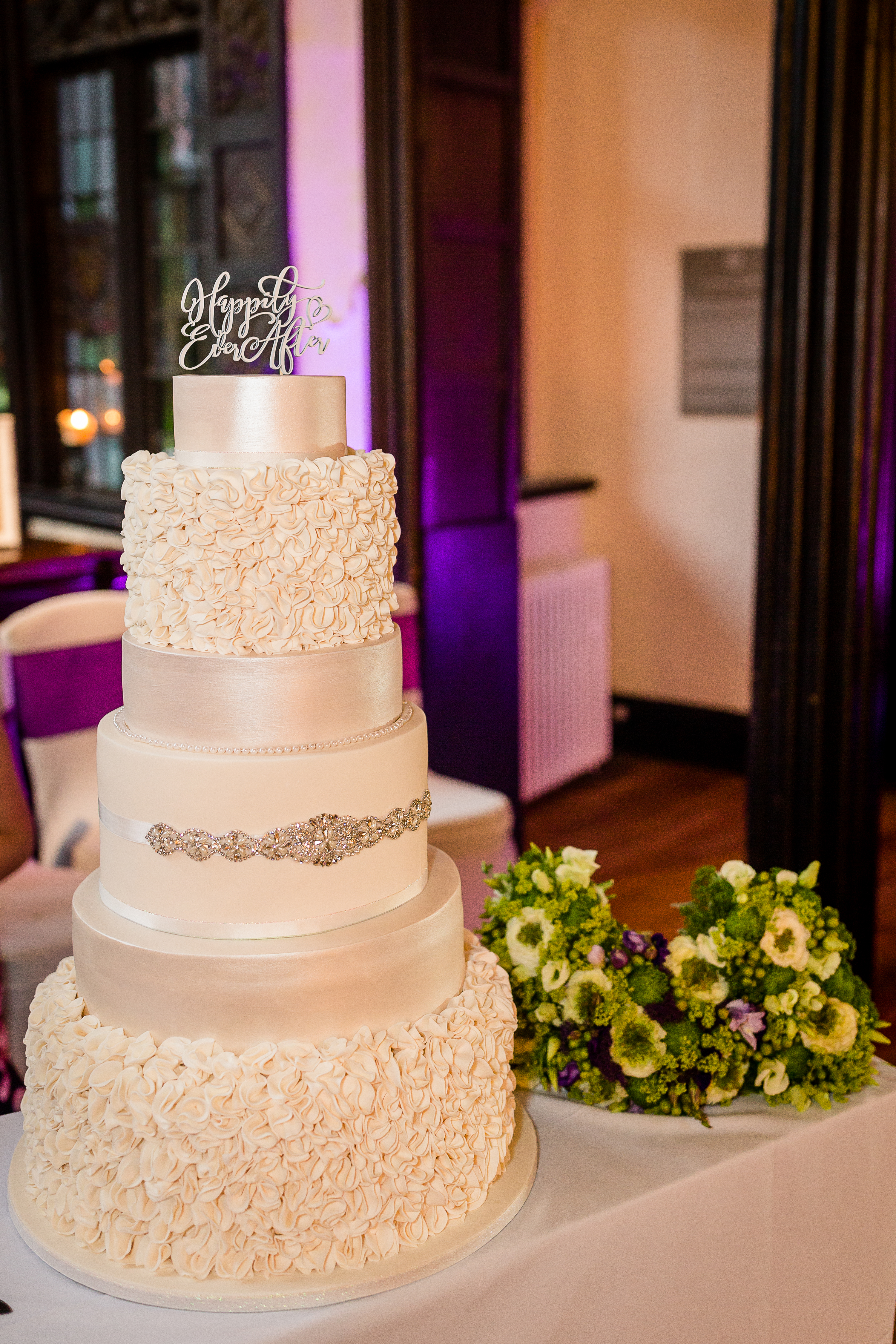 Elegant 5 tier ivory wedding cake