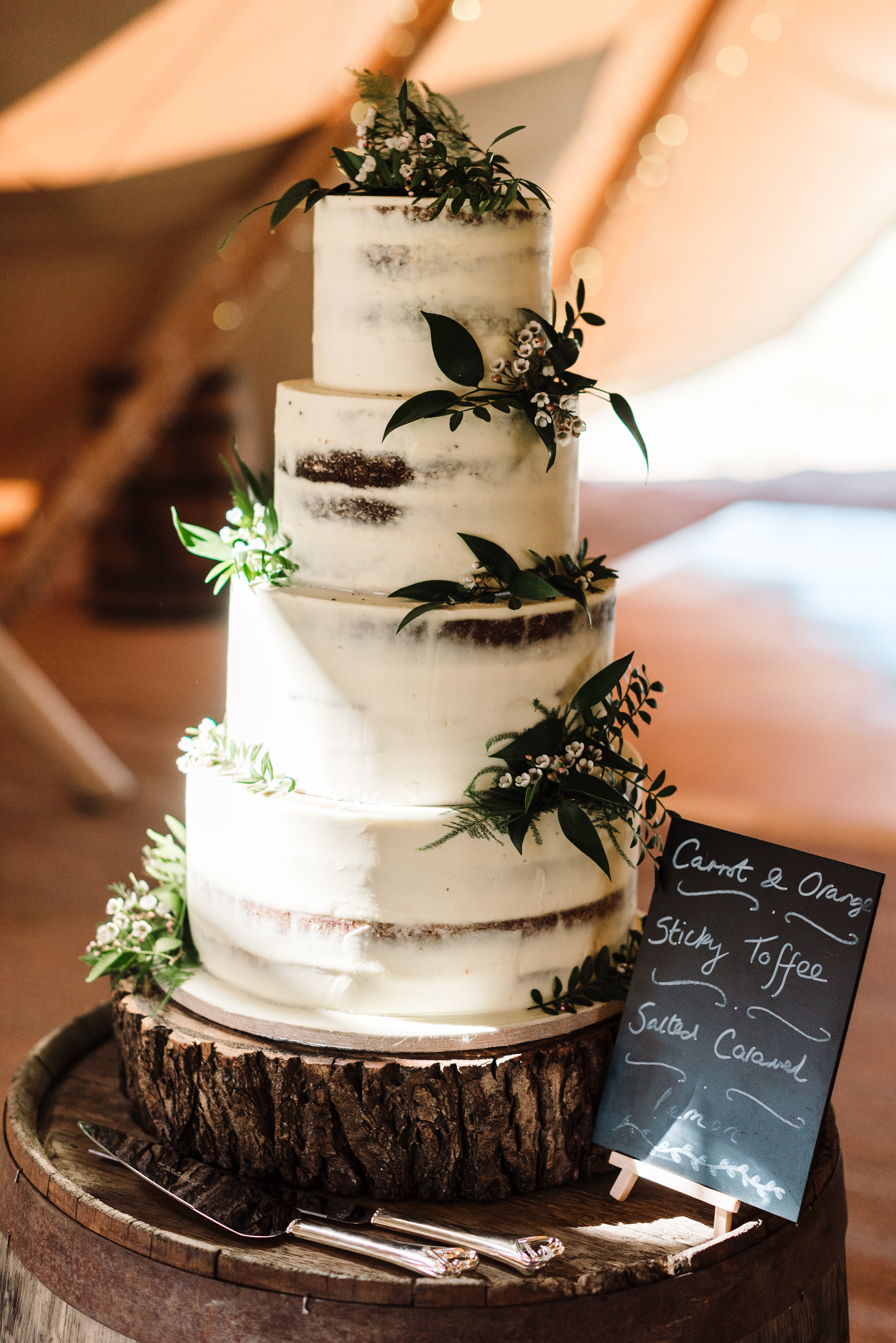 Rustic Semi Naked 4 tier wedding cake