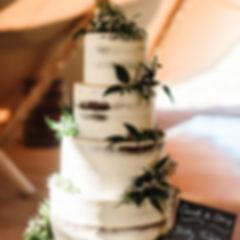 Rustic Semi Naked 4 tier wedding cake