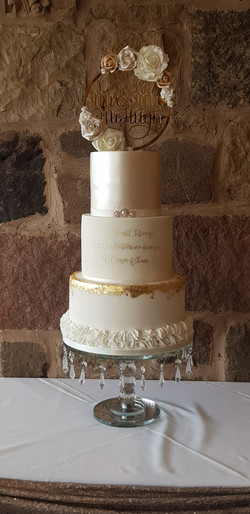 Ivory, champagne & gold 3 tier wedding cake featuring lustre, handpainted calligraphy, edible gold l