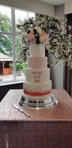 Rose gold & blush pink 4 tier wedding cake