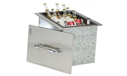 Bull Drop-In Ice Chest with Cover and Drain, Stainless Steel