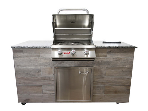 OKD Designer BBQ Island with Bull Steer Built in Grill and Single Side Burner