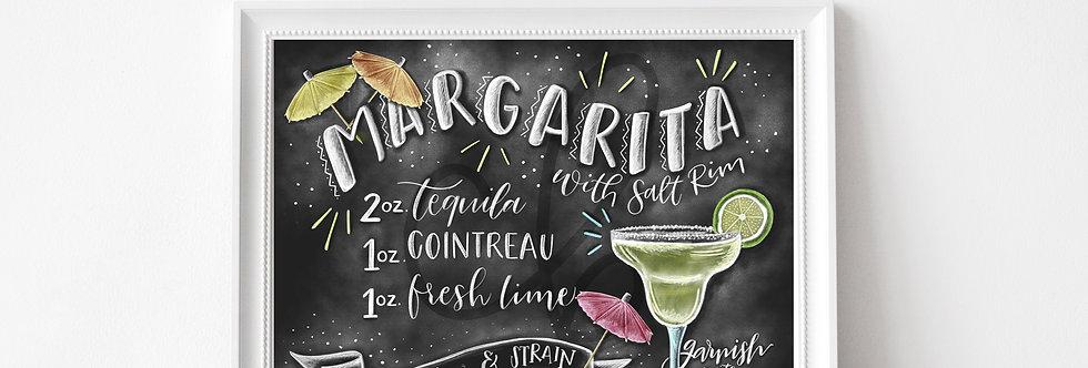 """Margarita Recipe""  Chalkboard Print"