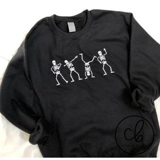 Skeleton sweatshirt. black crewneck. Black halloween sweatshirt. chalk boss.png