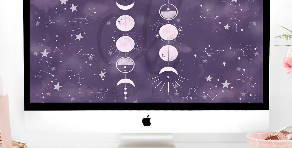 """Stars & Moons"" Wallpaper Download"
