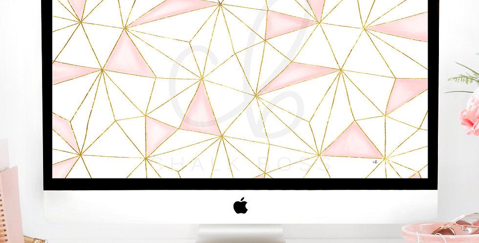 Pink & Gold Geometric Wallpaper Download