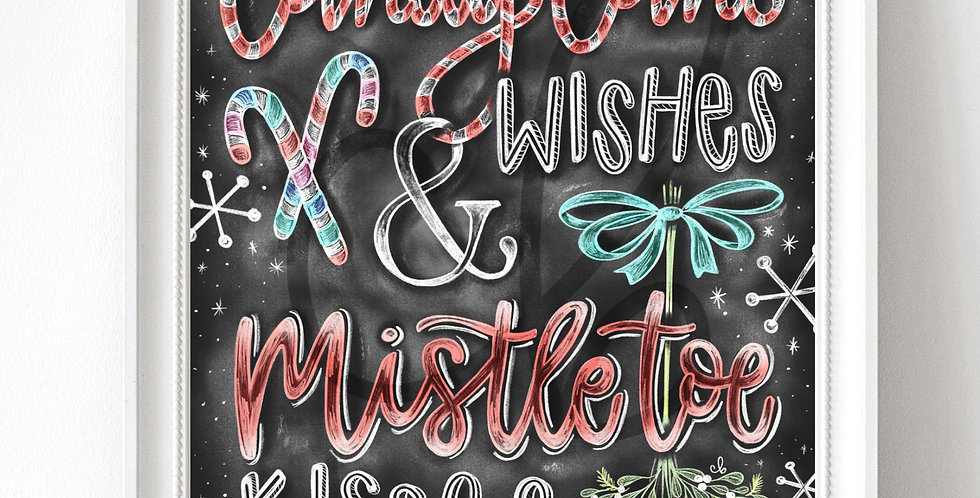 """Candy Cane Wishes"" Chalkboard Print"