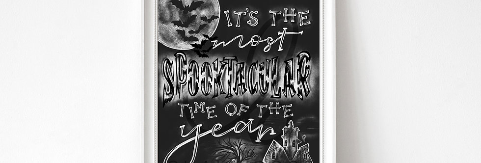 """Spooktacular Halloween"" Chalkboard Print"
