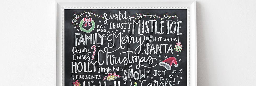 """Christmas Words"" Chalkboard Print"