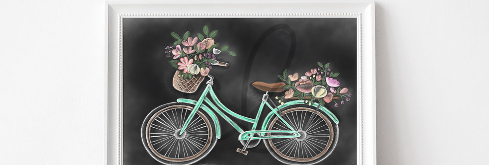 """ Spring Bicycle""  Chalkboard Print"