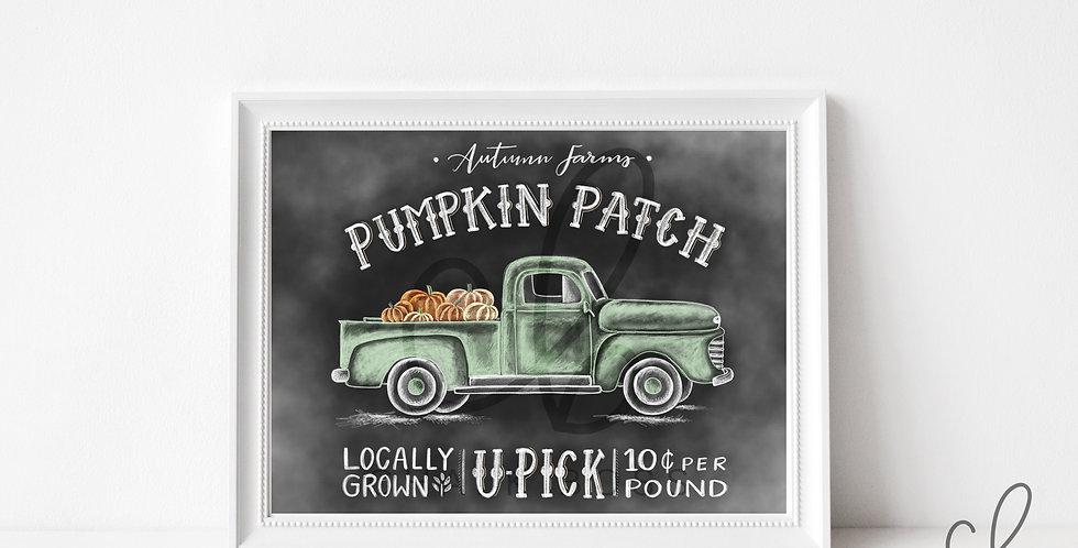 Autumn Farms Truck Chalkboard Print