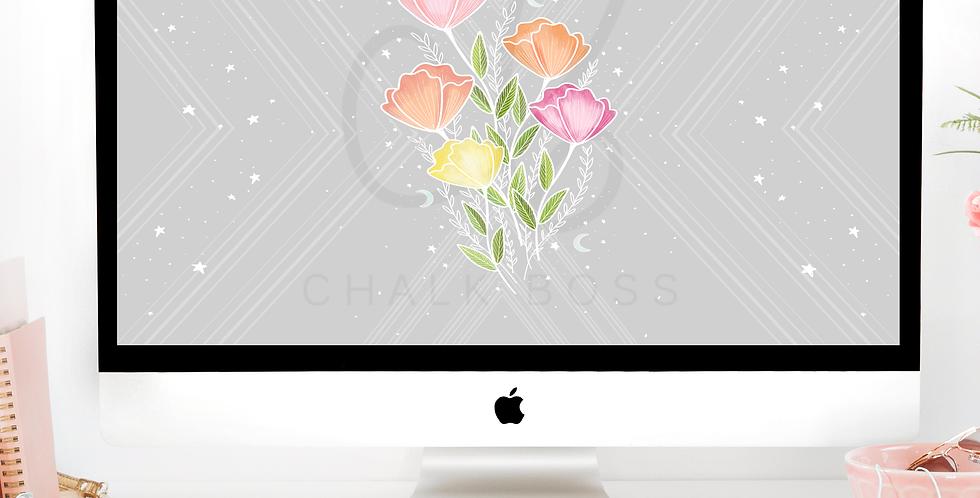 """""""Vintage Floral"""" Computer Wallpaper Download"""