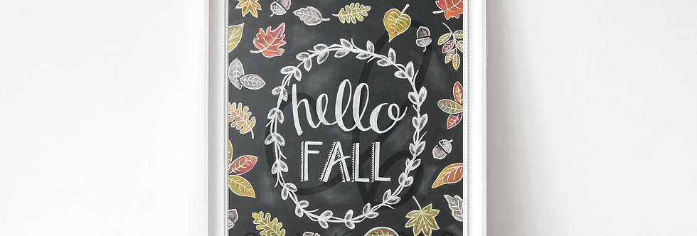 """Hello Fall"" Chalkboard Print"