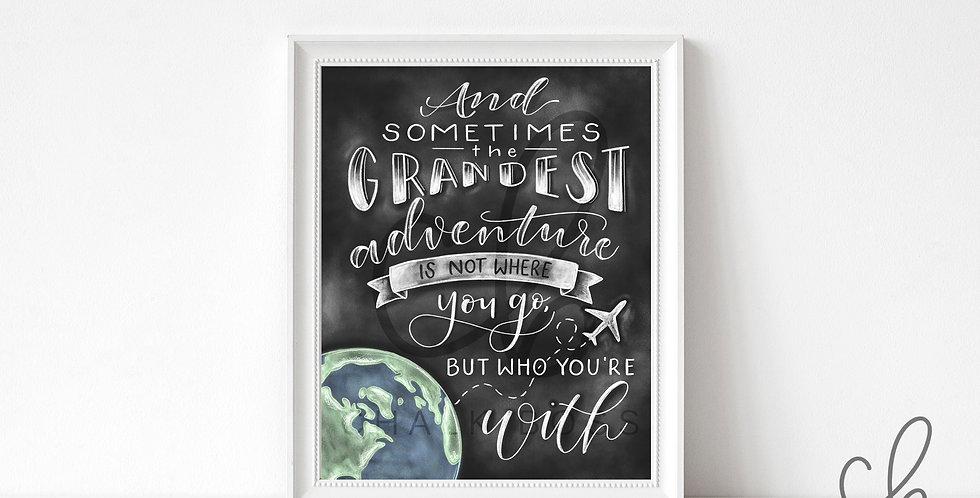 """Grand Adventure"" Travel Chalkboard Print"