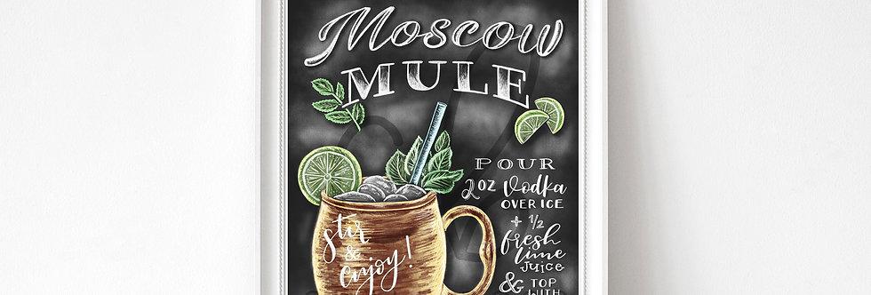 """""""Moscow Mule"""" Chalkboard Print"""