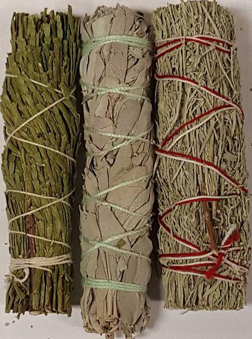Cedar, White Sage, and Blue Sage Smudging Set
