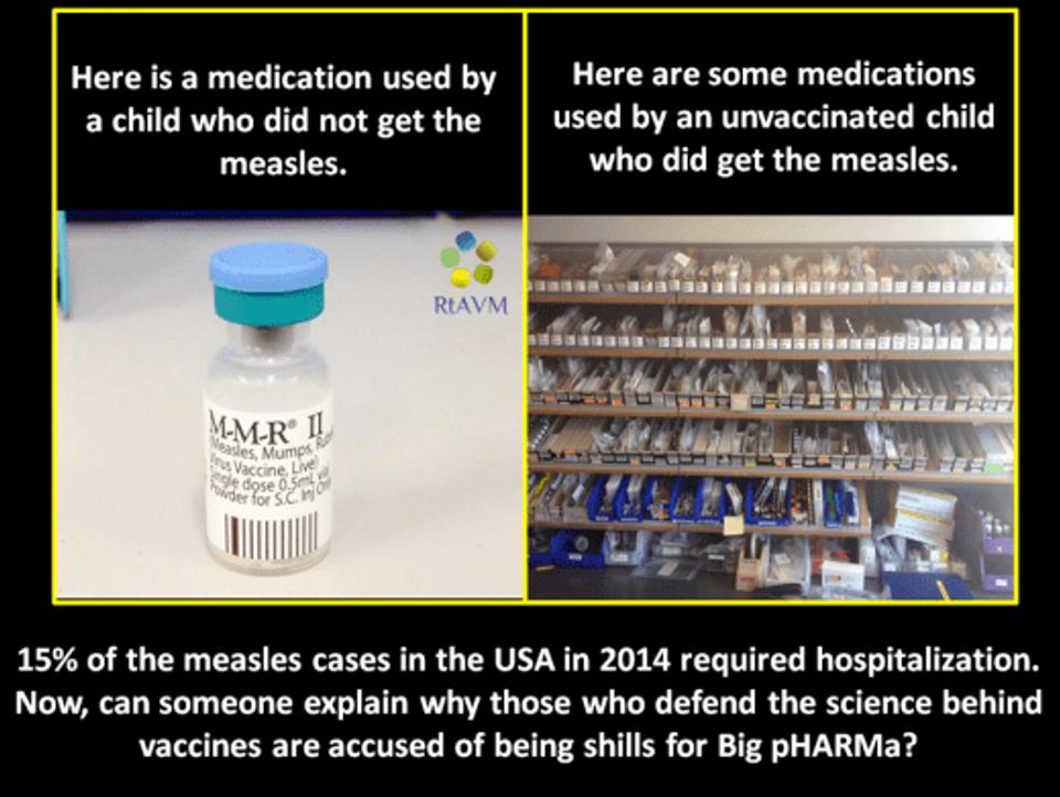À esquerda, o que a BIG PHARMA vendeu para uma criança que não vai ter sarampo. À direita, o que vendeu para uma criança que foi internada por pegar sarampo. A conta é simples.
