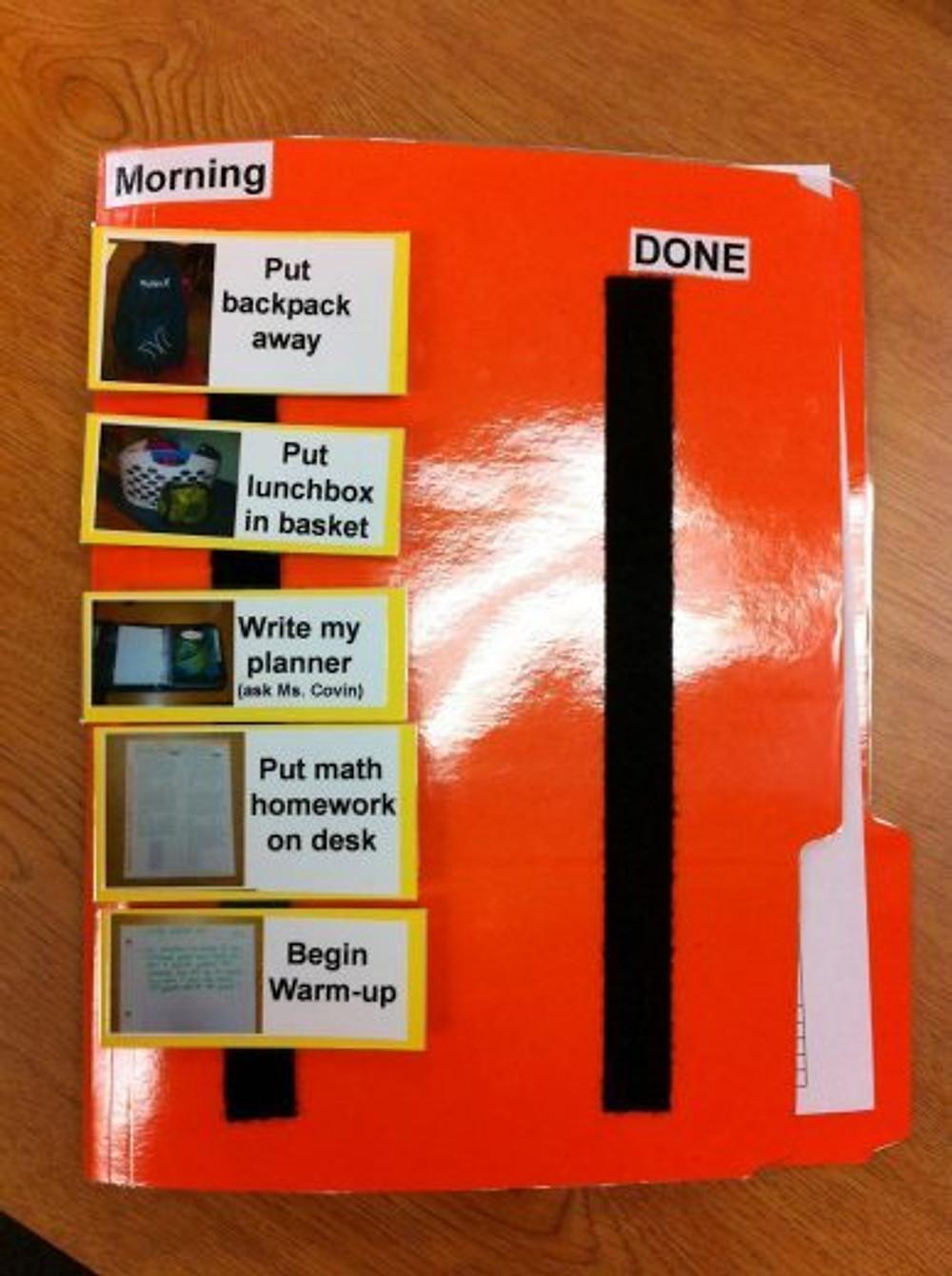 Calendário com as atividades da manhã. O que for sendo terminado, passa para o lado direito. Esse eu tirei daqui: http://bit.ly/1OylM9M