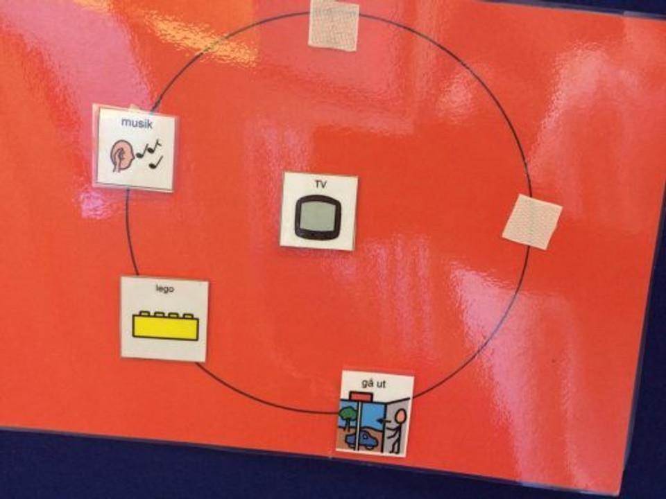 A criança escolhe a atividade dentre as do círculo e coloca a figura no meio