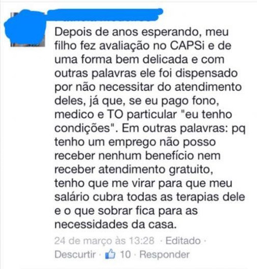 Depoimento retirado do post na fan page