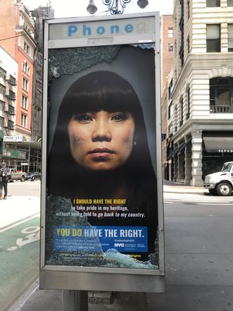 poster on street, glass broken