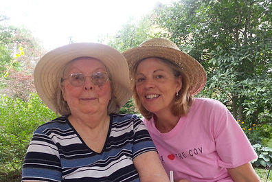 Mom and Marilyn with straw hats.jpg