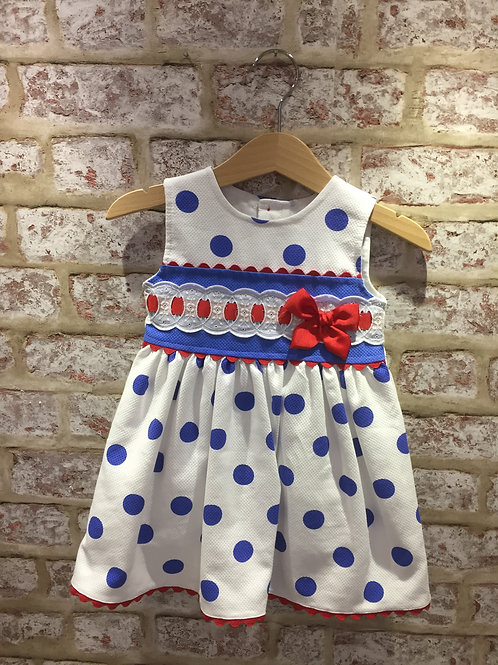 Alber Dress, White With Blue Polka Dots