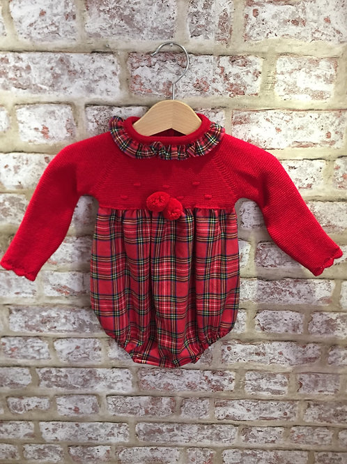 Spanish Romper Red Knitted With Tartan By ninas & ninos