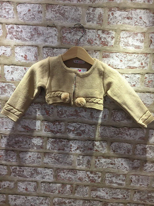 Boys Or Girls Camel Cardigan With Double Poms