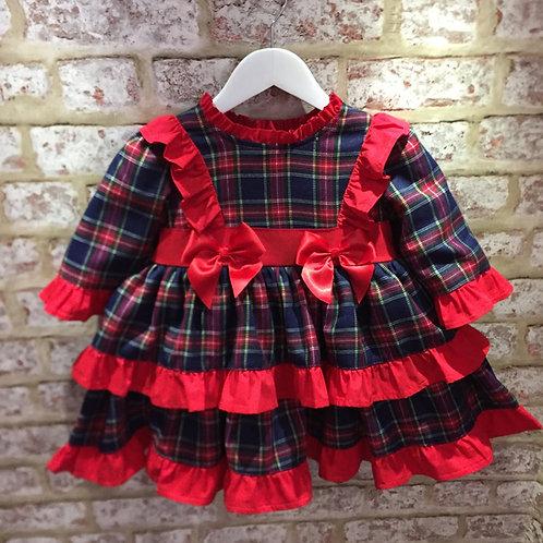 Weeme Red/Navy Tartan Dress & Cape