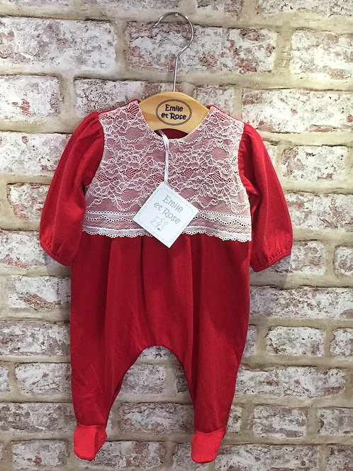 Emile et Rose Red All In One with Lace