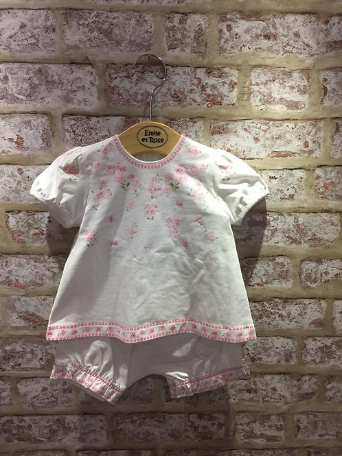 Emile et Rose White With Floral Design Two Piece Set