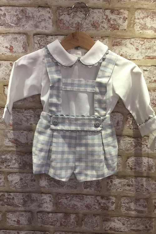 Blue, Ivory and Grey Two Piece H Strap Romper