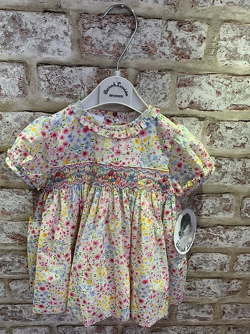 Sarah Louise Smocked Ditsy Floral Dress