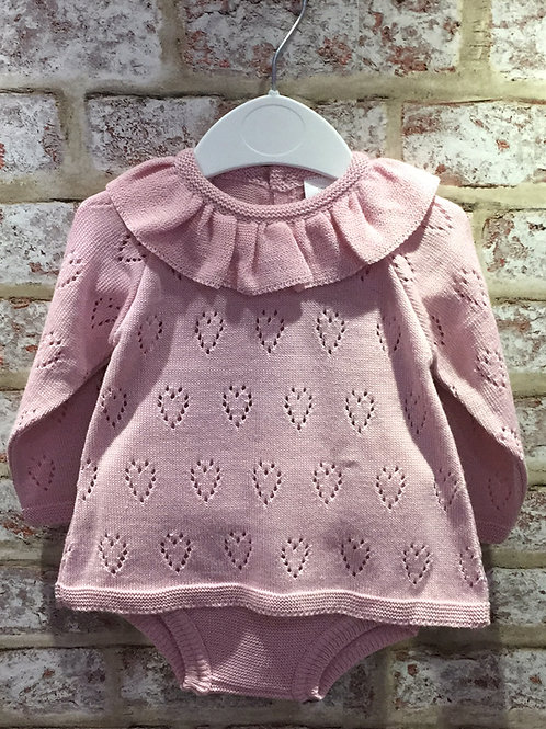 Two Piece Girls Finely Knitted in Dusky Pink