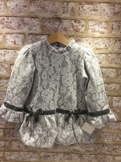 Grey dress with white lace overlay with grey velvet trim bow
