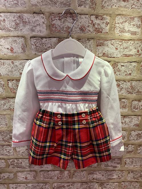 Tartan Shorts & Smocked Shirt