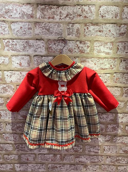 Beige Cream & Red Tartan Dress