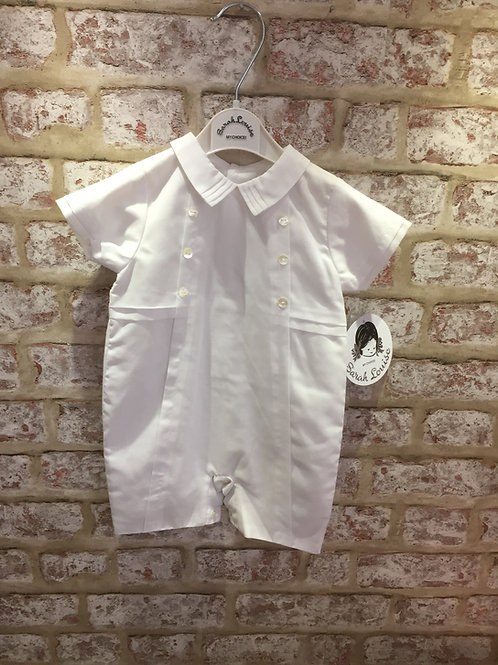 Sarah Louise White Romper With Hand Smocking & Train Design