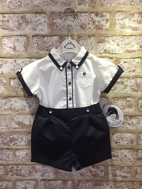 Navy/White Sarah Louise Two Piece Shorts & Shirt