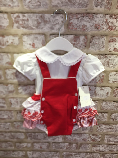 Red & White Frilly Romper