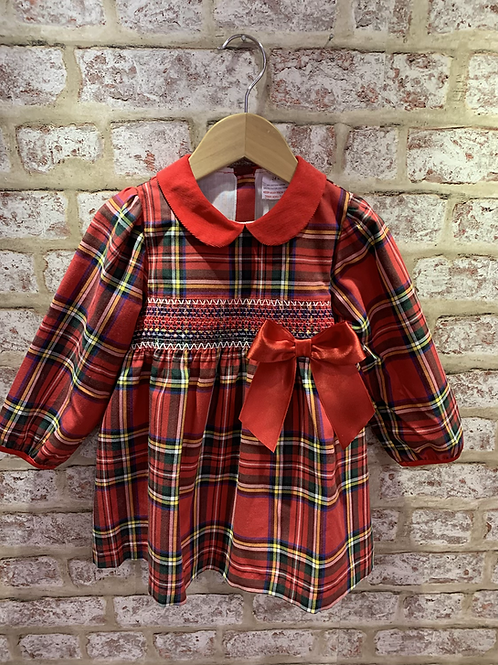 Tartan smocked dress with red bow