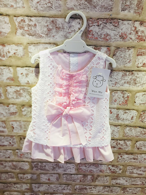 Weeme Pink / White Frill & Bow Dress