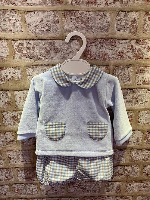 Baby Blue Grey Check Shorts & Top