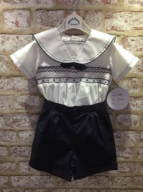 Sarah Louise Boys Navy & White Shorts & Shirt