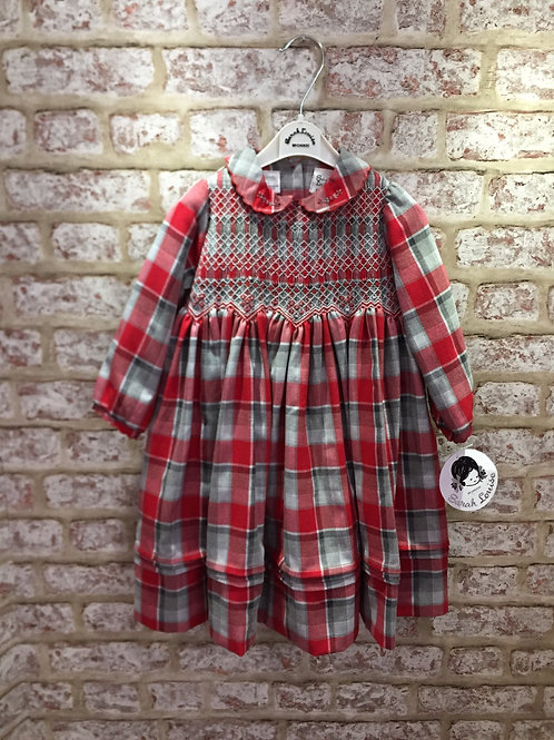 Red/Grey Hand Smocked Tartan Dress Sarah Louise