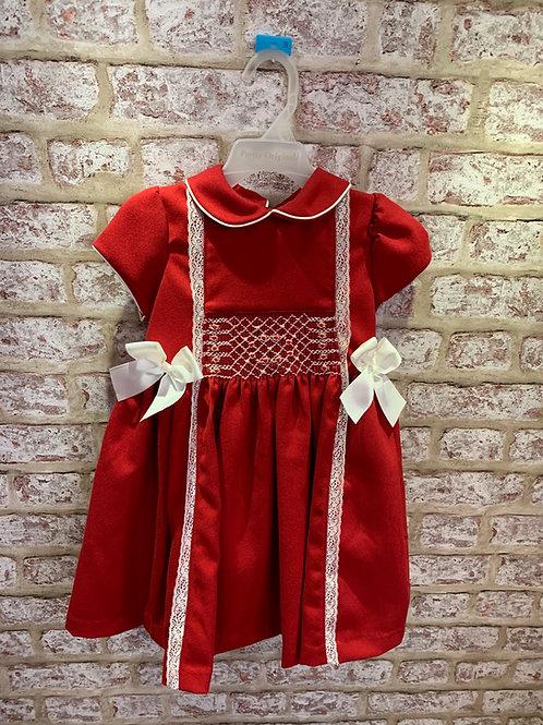 Pretty Originals Red/Ivory Smocked Dress