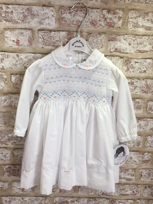 Sarah Louise Dress In White/Blue/Pink Hand Smocked