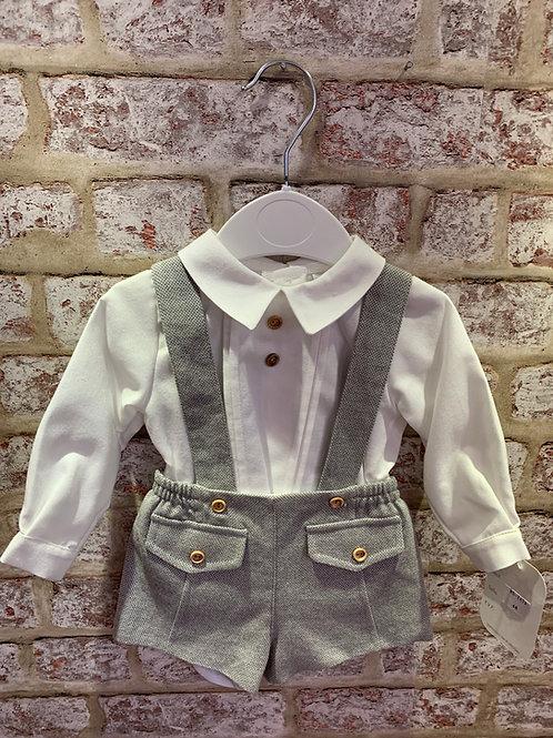 Grey Shorts & White Shirt